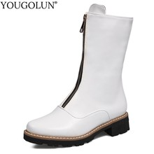 Low Heel Mid-Calf Boots Women Spring Autumn Ladies Elegant Square Heels Woman Black White Round toe Front Zipper Shoes
