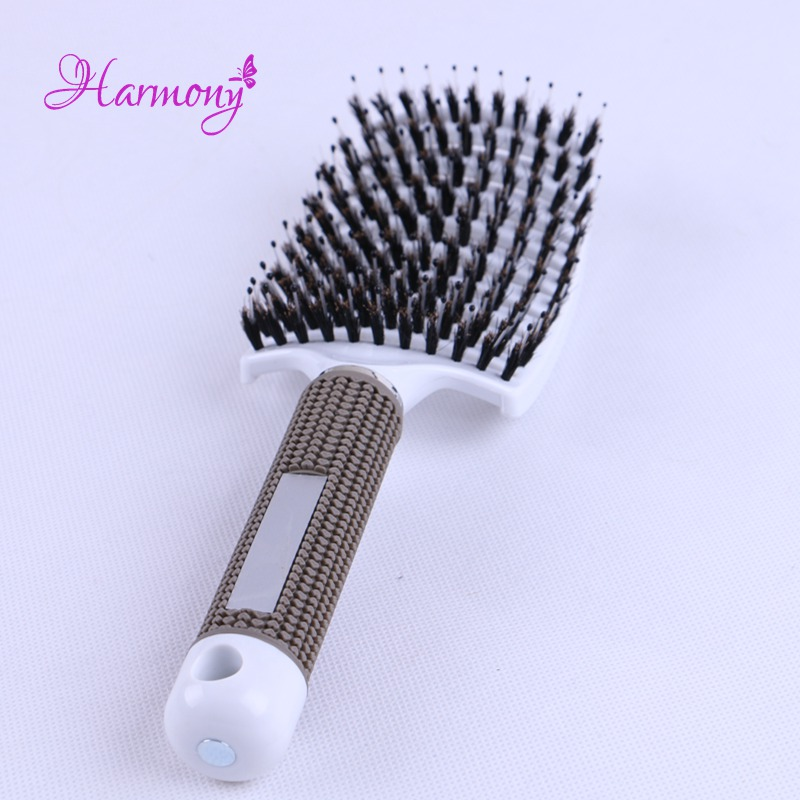 1pcs Anti-static Heat Curved Vent Comb Barber Salon Hair Styling Boar Bristle Brush Best For Detangling All Hair Types