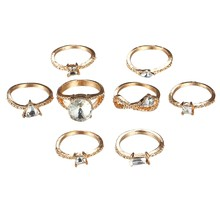Fashion Vintage Rings Set Bohemia Stackable Alloy Geometric Cubic Zirconia Joint Knuckle Rings Set For Women Fine Jewelry 8 Pi(China)