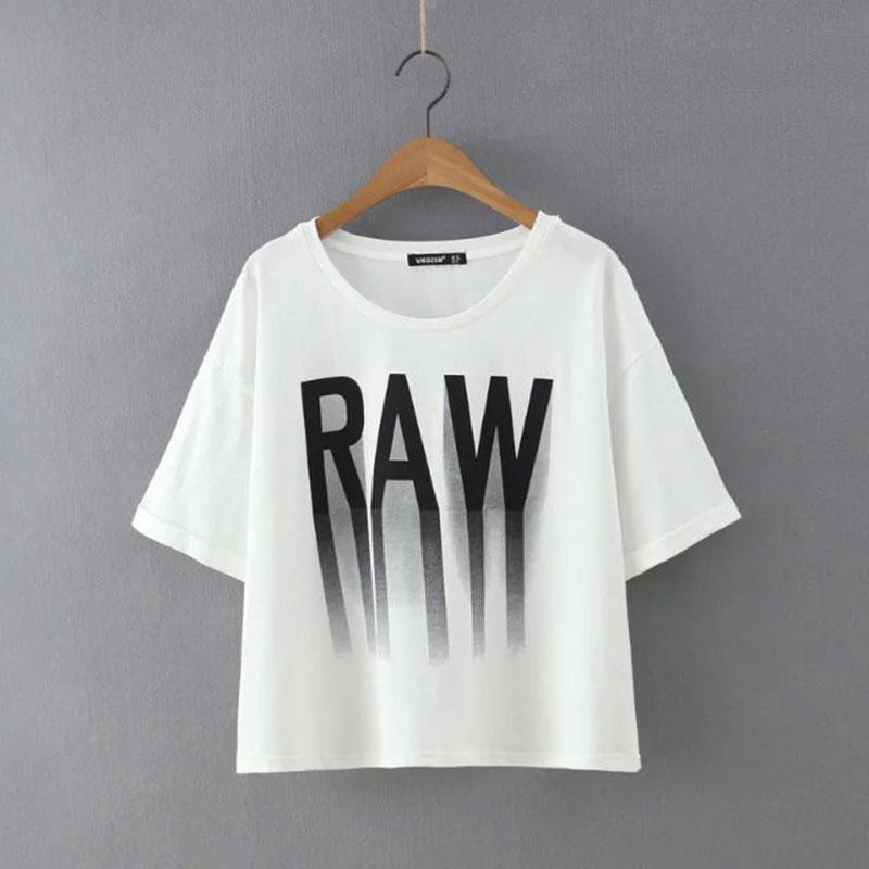US $14 27 |Women 3D letters RAW print short t shirt Summer white breezy  crop tops o neck short sleeve Vogue Simple Designers t shirt-in T-Shirts  from