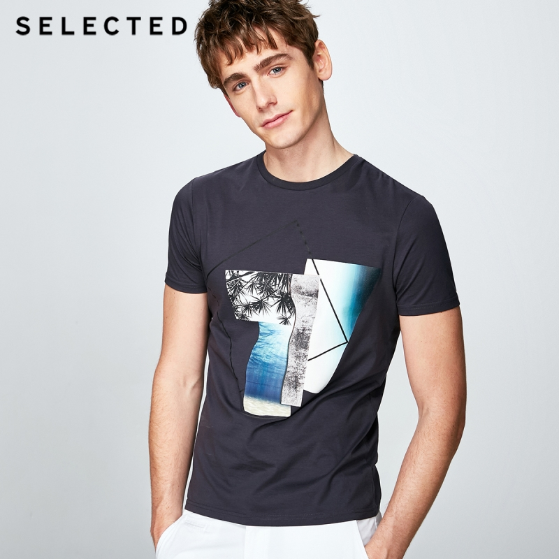 SELECTED  cotton business leisure short-sleeved T shirt S|4182T4571