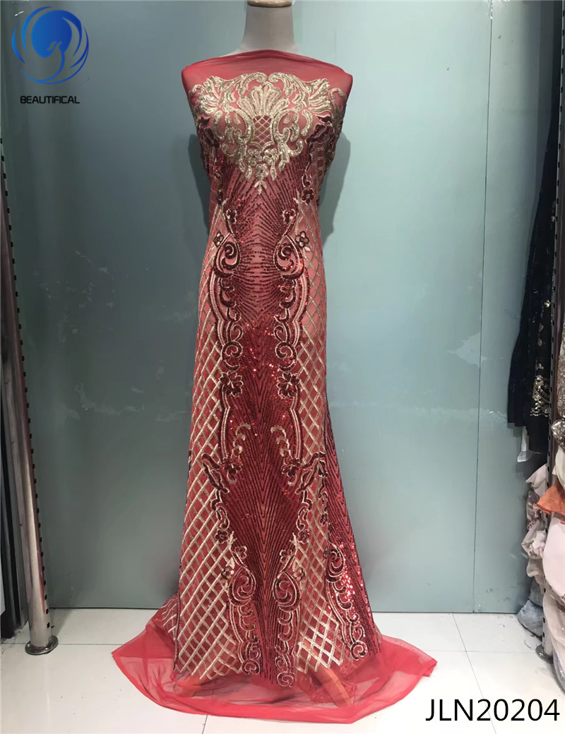 BEAUTIFICAL Red lace fabric african net lace with sequins embroidery fabric Fashion design french tulle lace for women JLN202-in Lace from Home & Garden    1