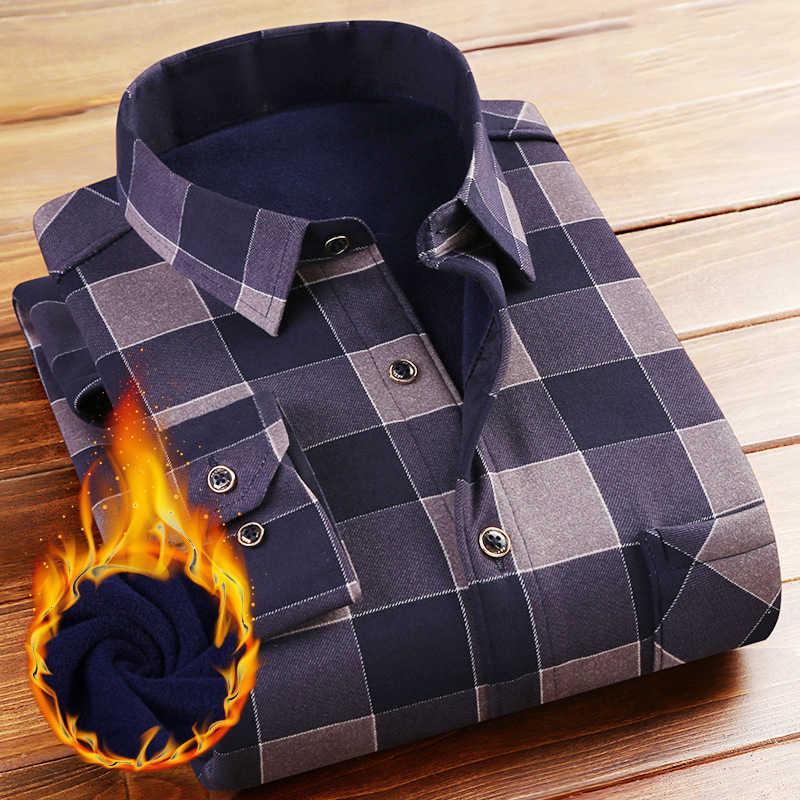 Модная мужская клетчатая рубашка Camisa Masculina 2018 зима новая плюс бархатная рубашка мужская приталенная Повседневная рубашка с длинным рукавом рубашки мужские