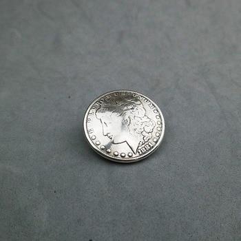 FAI DA TE Lavorazione della pelle Ferramenteria e attrezzi Morgan Testa Moneta Da Un Dollaro Concho Argento Antico 606459S-38