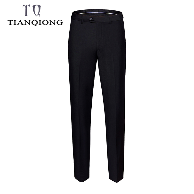 Suit Pants Trousers Slim-Fit Black Elegant Formal Men's Straight Fashion Solid-Color