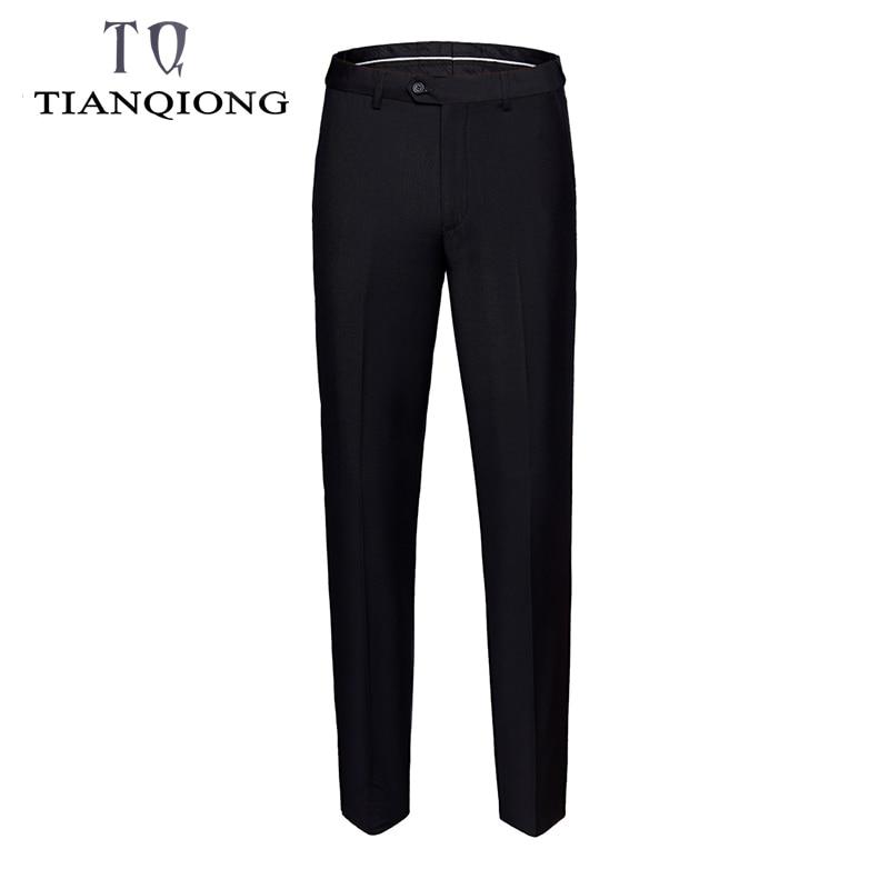 Suit Pants 2019 Fashion Elegant Mens Dress Pants Solid Color Straight Long Trousers Men's Slim Fit Formal Trousers Black