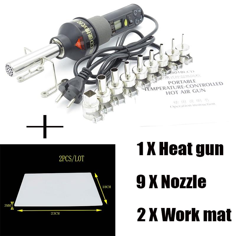 450W LCD Adjustable Electronic Heat Hot Air Gun Desoldering Soldering Station IC SMD BGA 9PCS Nozzle