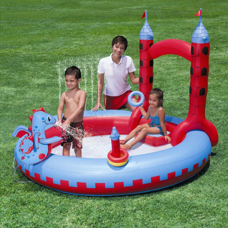 201*150cm High quality dinosaur fountain children's garden play pool Castle shape inflatable swimming pool inflatable ball pool commercial sea inflatable blue water slide with pool and arch for kids