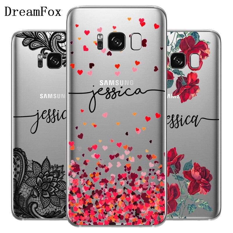 DREAMFOX bricolage nom housse de protection personnalisée pour Samsung Galaxy Note S 8 9 10 bord Lite Plus Grand Silicone souple