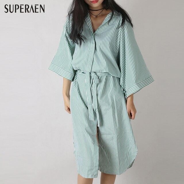 2016 корейский Для женщин мода давно Рубашка Новый Дизайн круглый Средства ухода за кожей шеи свободные большой Размеры Повседневное Рубашка в полоску платье осень