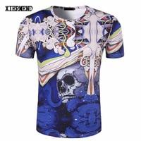 New men 's summer skeleton skull logo 3D round neck short sleeve personalized T - shirt