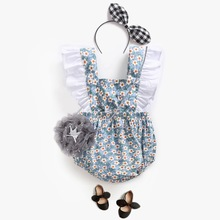 Baby Rompers Climbing Dress Flower Strap Girl Pants Baby Girl Clothes Funny Baby Rompers New Summer Ruffle Jumpsuit  Body Suits