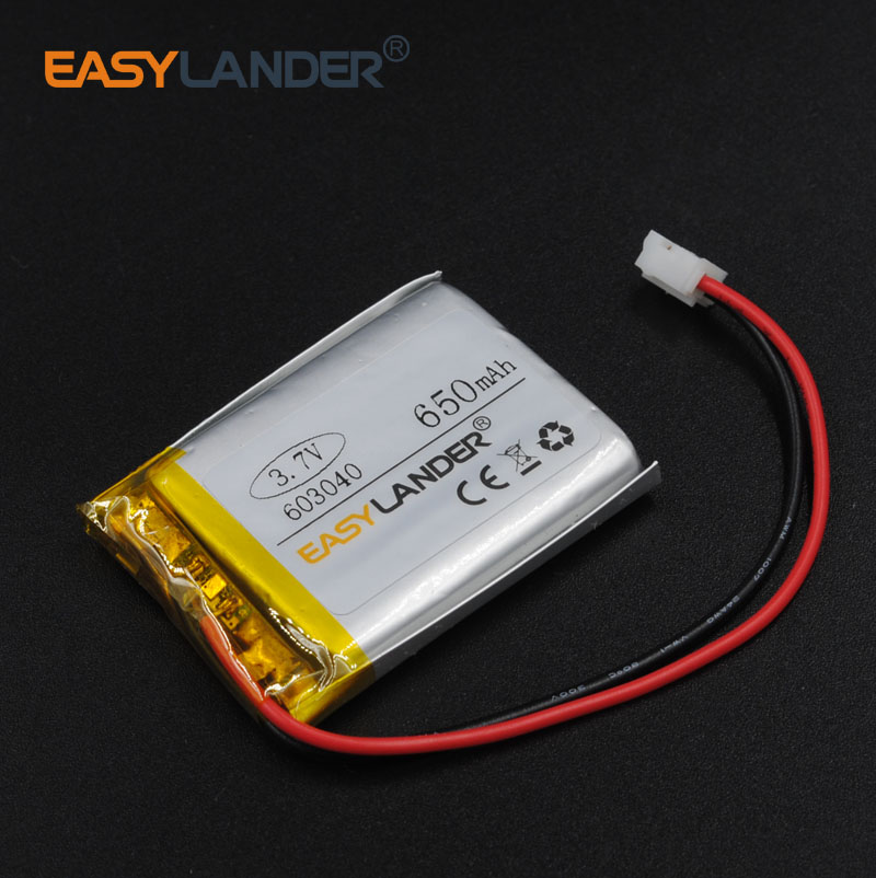 603040 3.7V 650mAh Rechargeable li Polymer Li-ion Battery For MP3 MP4 gaming Mouse GPS PSP DVR Lampe speaker 063040 connector ...