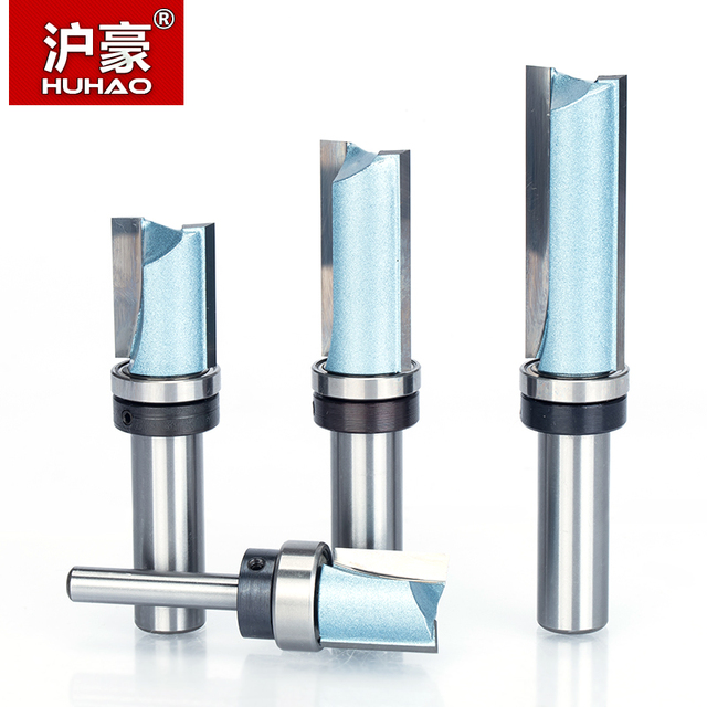 """HUHAO 1pc Bearing Flush Trim Router Bit for wood 1/2"""" 1/4"""" Shank straight bit Tungsten Woodworking Milling Cutter Tool"""