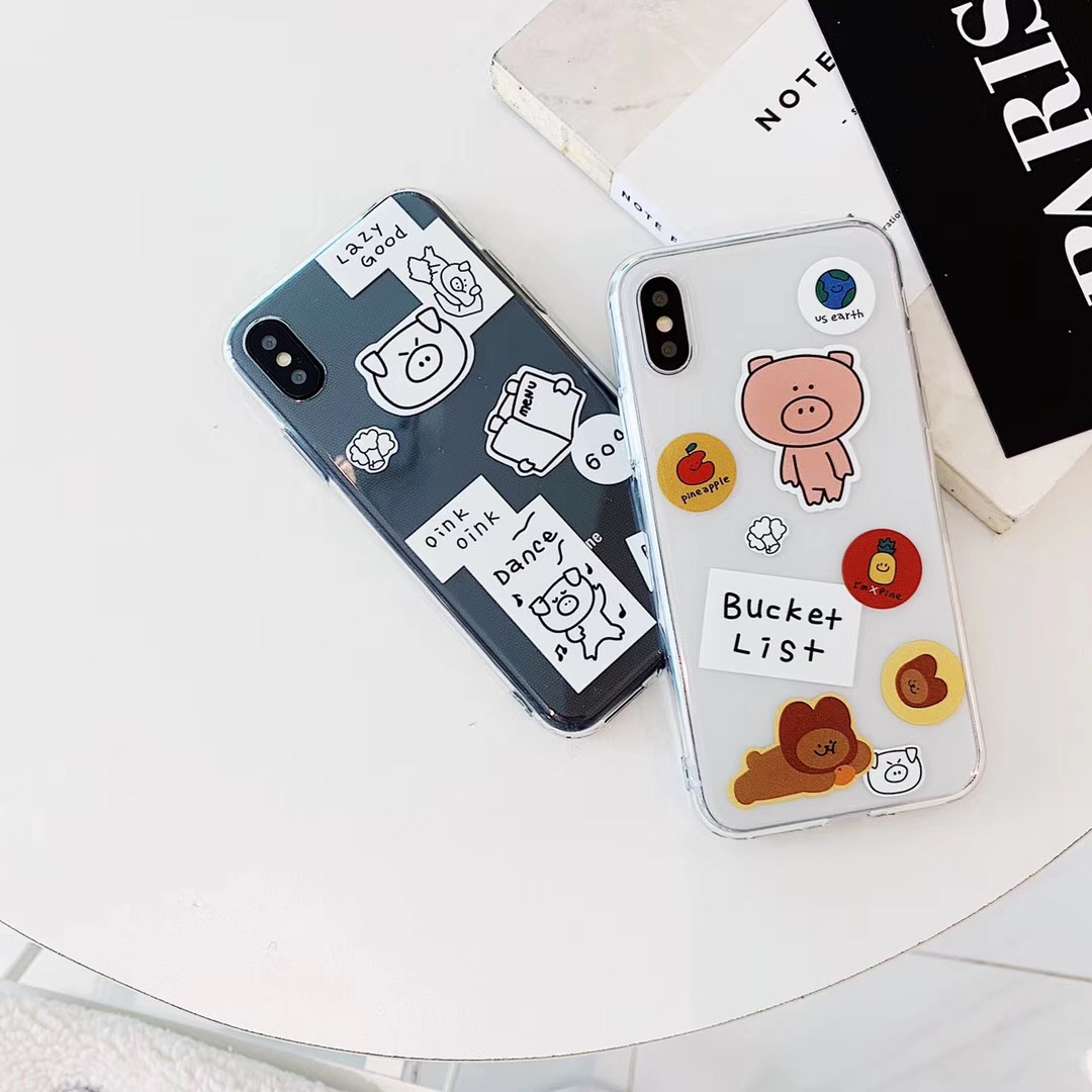 Ins tag cute cartoon Text animal pig phone case For iPhone Xs MAX Xr X 6 6s 7 8 plus transparent spft TPU bear back cover Fundas