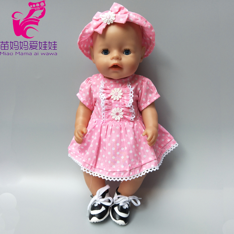 43cm Zapf Baby Born Doll Cute pink princess dress with hat and underwear for 18 american girl Doll Clothes baby gift toy american girl doll clothes halloween witch dress cosplay costume for 16 18 inches doll alexander dress doll accessories x 68
