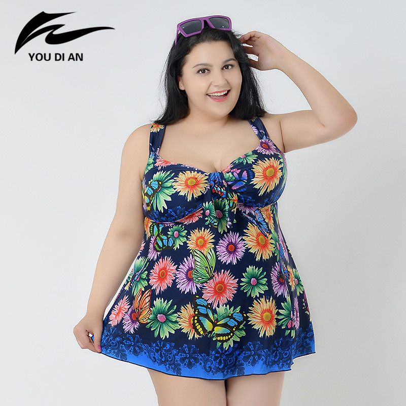 2017 Plus Size Swimwear Women Push Up Swimsuit Print Beachwear Swim Dress Bathing Suit Summer Sexy Two Pieces Swimwear ...