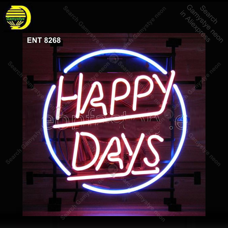 Neon Sign for Happy Days Neon Bulb Sign Custom Light up wall sign for Room Custom nein sign Express Lamp Beer room AccesariesNeon Sign for Happy Days Neon Bulb Sign Custom Light up wall sign for Room Custom nein sign Express Lamp Beer room Accesaries