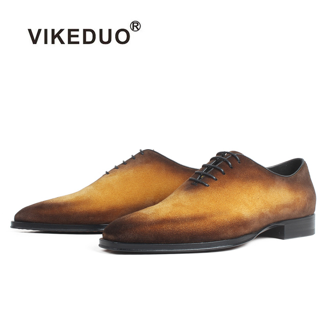 VIKEDUO Cow Suede Oxford Shoes Classic Handmade Bespoke Men's Dress Shoes Patina Square Toe Flat Wedding Office Designer Zapato