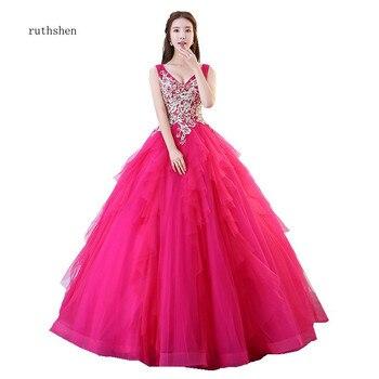 5bd847ca6bc Ruthshen princesa vestido de quinceañera Vestidos con cuello en V de  Peachblow Puffy Formal Vestidos de quinceañera 15 años 2018 nueva llegada