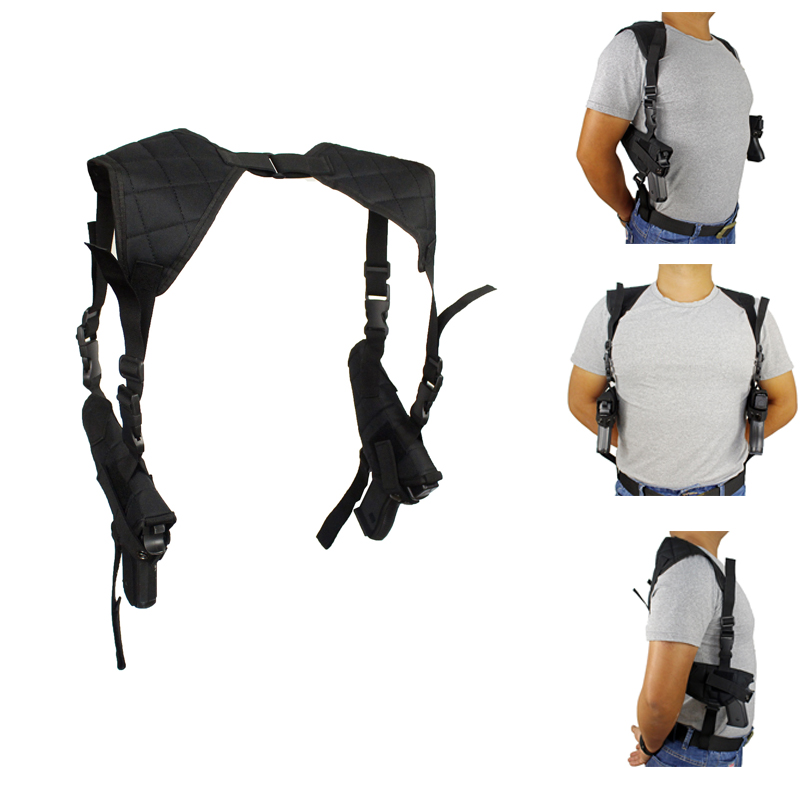 Tactical Double Draw Pistol Holster Concealed Hand Gun Shoulder Holster Under Arm Pistol Holster Soft Pouch Black onetigris adjustable tactical shoulder holster military pistol gun holster & magazine pouch for right hand shooters