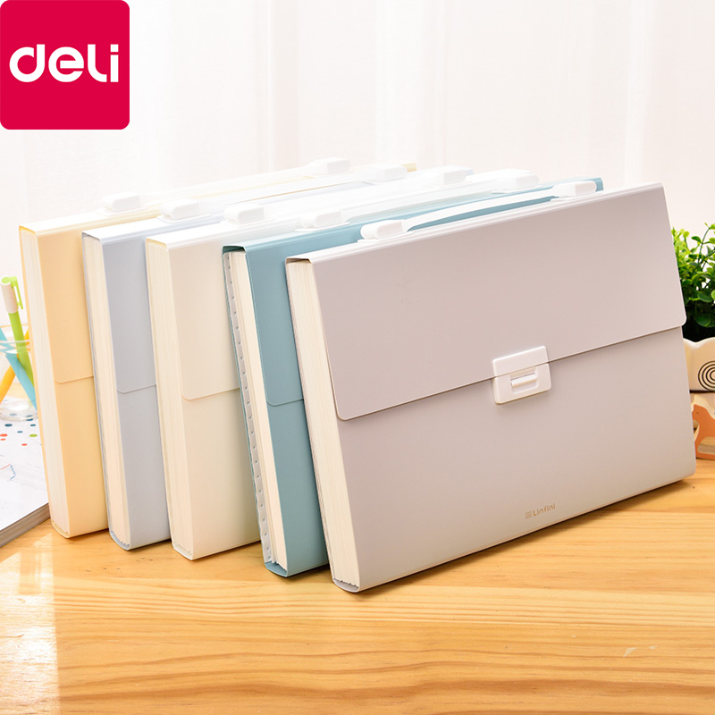 Deli 72410 A4 Folder Multi-layer Organ Bag Information Book Classification Test Paper Bag Storage Box Multi-function Stationery