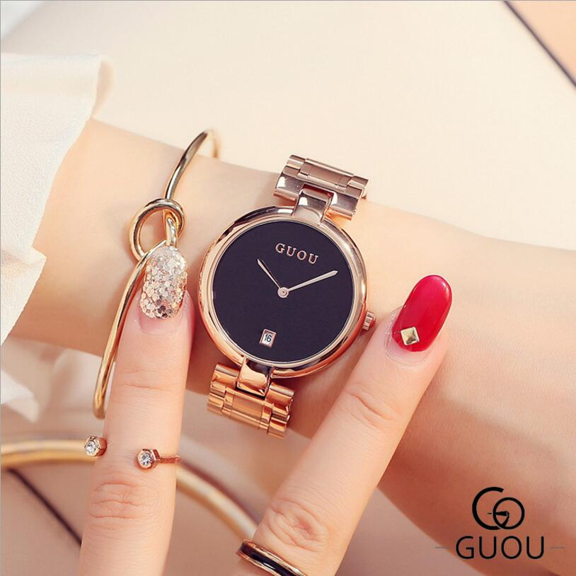 GUOU watches Elegant Simple Wrist Watches Women Luxury Diamond Watch Rose Gold Women's Clock bayan kol saati reloj mujer gifts guou watches classic vogue wrist watches women auto date ladies watch rose gold women s clock bayan kol saati quartz watch saat