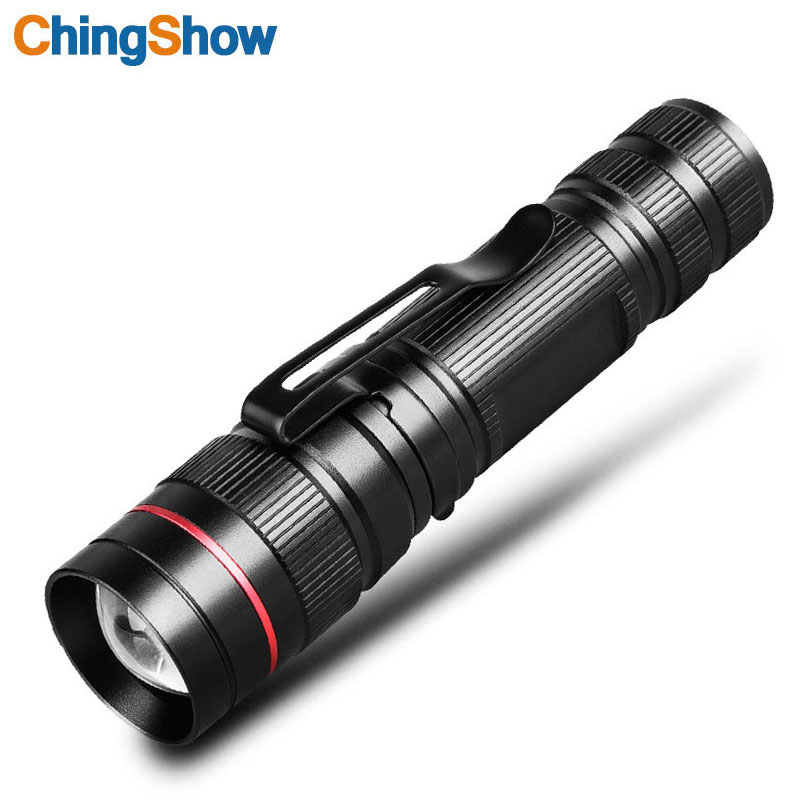 CHINGSHOW LED Flashlight Cree xpe Q5 Zoomable 3 Modes Waterproof Aluminum Portable Outdoor Light For Camping Cycling