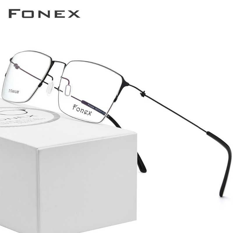 3f344d957c De titanio gafas hombres Semi montura anteojos recetados mujeres miopía  marcos ópticos ultraligero coreano sin tornillos