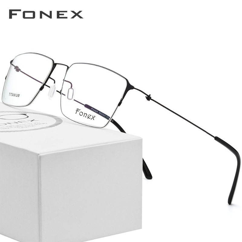 Titanium Glasses Frame Men Semi Rimless Prescription Eyeglasses Women Myopia Optical Frames Ultralight Korean Screwless Eyewear Shrink-Proof Men's Eyewear Frames Men's Glasses