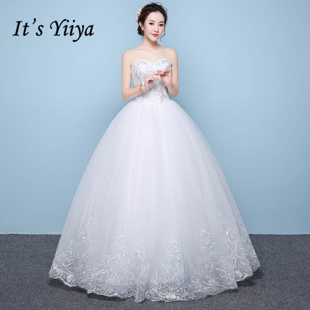 It S Yiiya Strapless Sleeveless Bride Dresses Simple Beading Lace Up Wedding Gown Vestidos Deovia Casamento Hs275