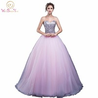 100% Real Image Pink Sweetheart Quinceanera Dresses Ball Gowns Sequined Lace Up Sweet 16 Dresses Vestidos De 15 Years Party Gown