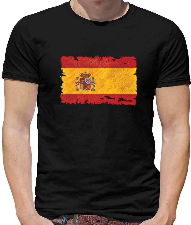 Tây Ban Nha Cờ Grunge Cờ Nam Áo Thun-Madrid-Barcelona-Quốc Gia-Du Lịch