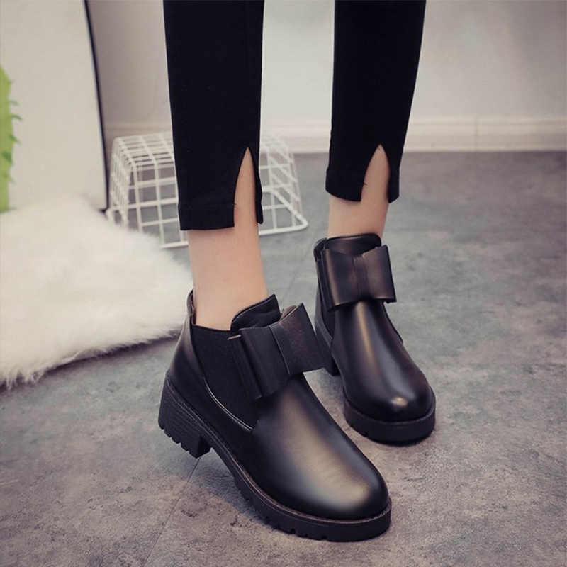 2019 новые женские ботильоны с бантиком из искусственной кожи эластичная лента Челси сапоги без шнуровки низкий каблук осень нескользящая платформа Женская обувь