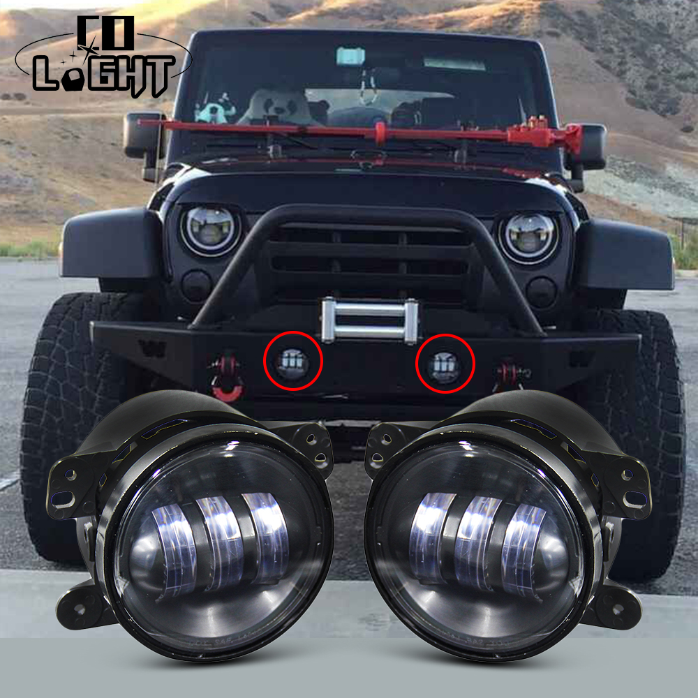4 Inch Round Fog Lights DRL Projector Lens Angel Eyes Led Fog Lamp 30w With Halo for Offroad Jeep Wrangler Jk Harley Daymaker 2pcs led round 4 inch fog lights 30w 4 fog lamp lens projector led driving headlamp for offroad jeep wrangler dodge chrysler