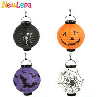 Classic Halloween Decoration LED Paper Pumpkin Skull Lantern Spider Bat Light Hanging Lantern Lamp Props Outdoor