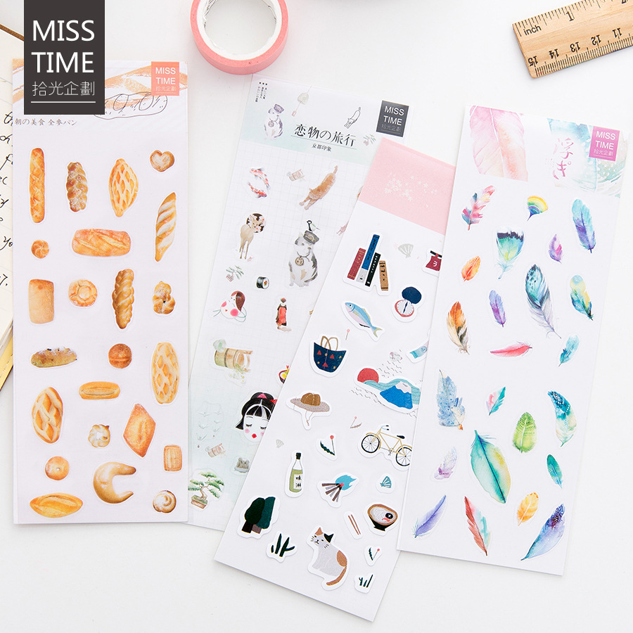 Cute Kawaii Feathers Bread Plant Travel Diy Diary Stickers Scrapbooking Decorative Sticker Pack Stationery Office School Supply spring and fall leaves shape pvc environmental stickers decorative diy scrapbooking keyboard personal diary stationery stickers