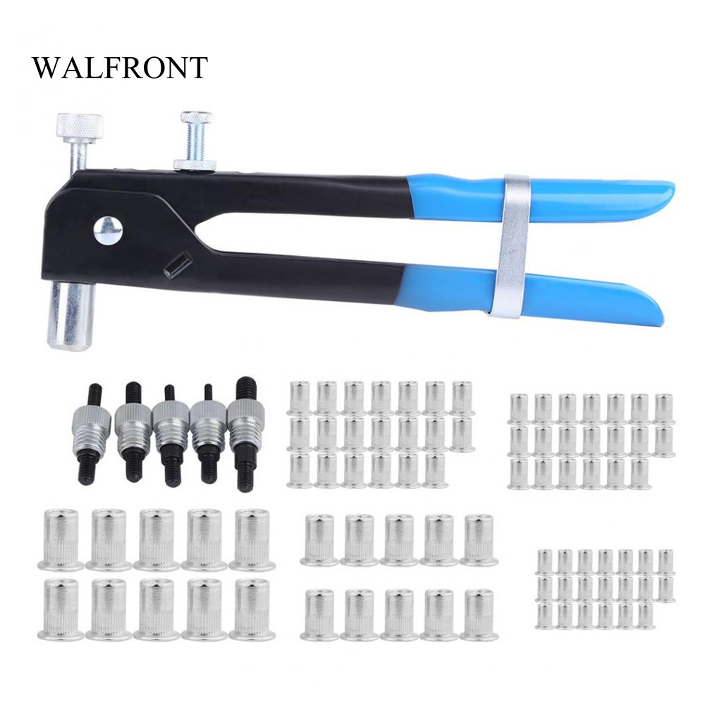 WALFRONT 86pcs/Box Blind Rivet Gun Hand Riveting Kit Aluminum Alloy ...