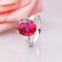 6 Carat SONA Synthetic Diamond Fashion Ring 925 Sterling Silver Ring Red Tourmaline Gemstone Rings US