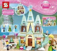Girl Series SY371 Cinderella S Romantic Castle Anna Elsa Minifigures Building Blocks Educational Brick Toy With