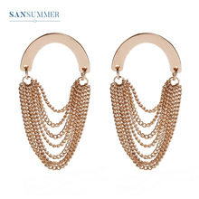 Sansummer New Hot Fashion Gold Chain Tassel Vintage Style Exquisite Charm Boho Personality Earrings For Women Jewelry