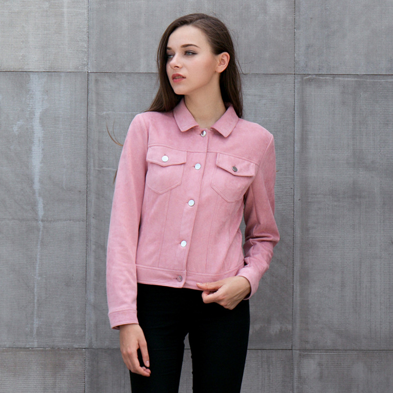 Pink Suede Jackets Women 2018 New Autumn Winter Long Sleeve Pockets Coat Single-breasted Fashion Jacket For Ladies