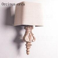 Европейский Стиль Резные бра вилла гостиная прикроватная тумбочка для спальни Французский Ретро старого массива дерева настенный светиль