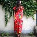 Китайский стиль Старинные Цветок Птица Печати Женщины Длинное Платье Хлопок белье V-образным Вырезом Плюс размер Летнее Платье Свободные Случайный Халат Femme A078