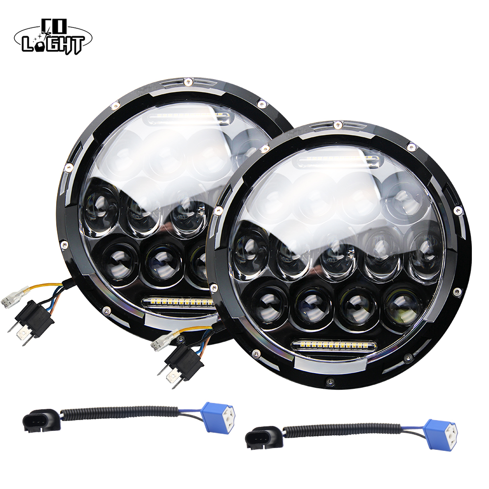 COLIGHT Led 12V 7 Inch Round Led Headlight 75W Led Driving Light High Low Beam for Lada Niva Off Road 4x4 Jeep Wrangler Jk Tj h4 7 led headlights with led car canbus led chip 80w 8000lm 6000k hi lo led driving light for off road uaz lada