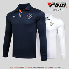 PGM Autumn Winter Golf T Shirt Men Long Sleeve Quick Dry Golf Shirts Men Sport Leisure Golf Polo Shirts Breathable Golf Apparel