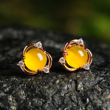 925 silver inlaid natural chalcedony egg face earrings Original flower womens fashion with certificate