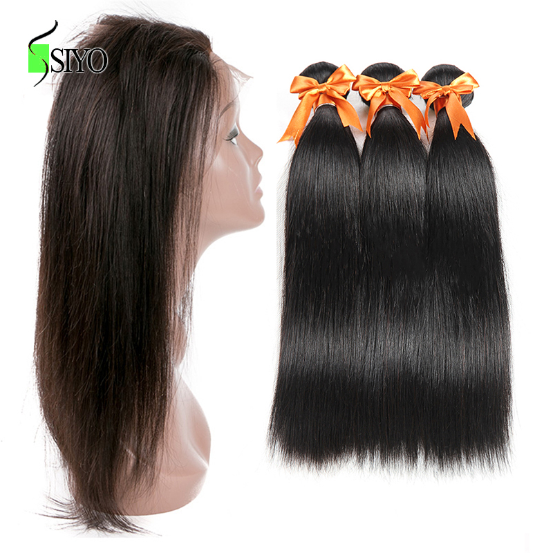 SIYO Peruvian Straight Hair 360 Lace Frontal Pre Plucked With 3 Bundles Human Hair Weave Natural Color Remy 4 pcs/lot