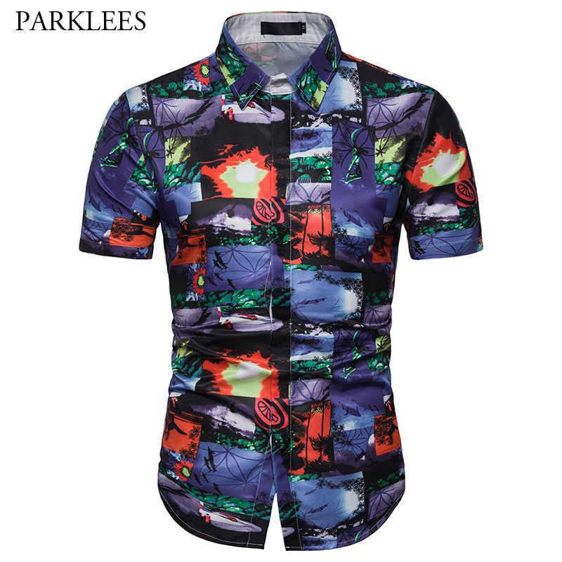 Мода Гавайский пляжная рубашка для мужчин лето 2019 г. короткий рукав цветочный принт Тонкий Мужская рубашка навыпуск с ярким рисунком повседневное для отдыха и вечерин