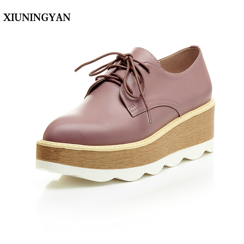 XIUNINGYAN 2018 Genuine Leather Platform Pointed Toe Oxford Shoes Women Creeper Shoes New Fashion Casual Womens Flats Heel Shoes